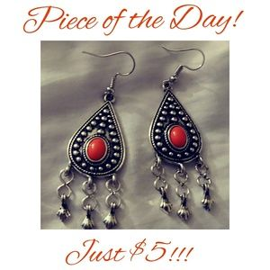 Piece of the Day! Silver Orange Beaded Earrings